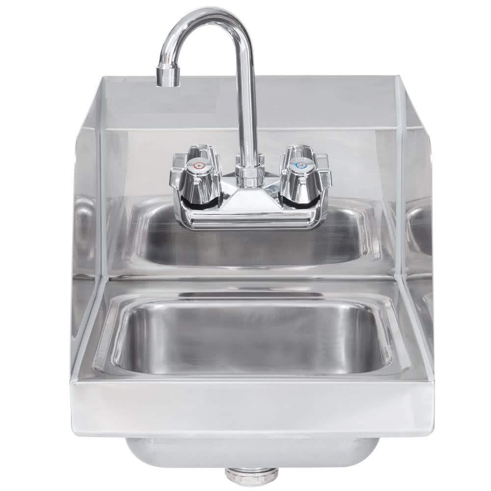 Commercial Stainless Steel Wall-Mount Hand Sink with Side Splash 14 x 10 - NSF