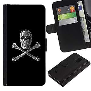 LASTONE PHONE CASE / Lujo Billetera de Cuero Caso del tirón Titular de la tarjeta Flip Carcasa Funda para Samsung Galaxy S5 Mini, SM-G800, NOT S5 REGULAR! / Skull Crystal Silver Crossbones Black