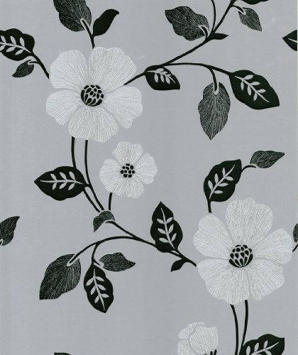 Brewster 414-46960 Maddison Silver French Floral Wallpaper ()