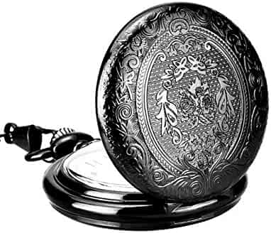 Mudder Black Vintage Stainless Steel Quartz Pocket Watch with Chain Belt