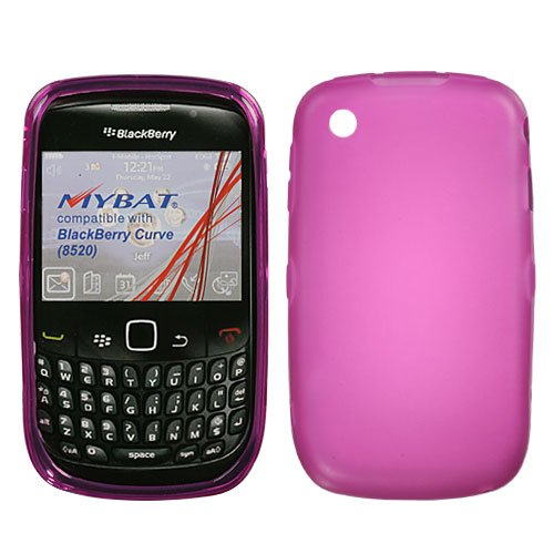 Asmyna BB8520CASKCAM001 Rubberized Slim and Durable Protective Cover for BlackBerry Curve 8520/8530/9300/9330 - 1 Pack - Retail Packaging - Hot Pink/Semi Transparent ()
