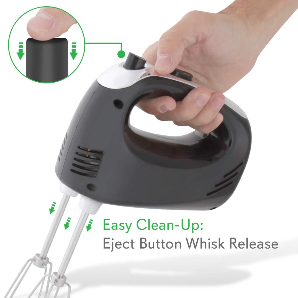 NutriChef B0012S8NWQ Electric Cordless Kitchen Hand Mixer - Portable Handheld Rechargeable Stainless Steel Whisk Machine with 3 Speed Settings - for Egg, Cake, Dough, Glue, 1, Black by NutriChef (Image #2)