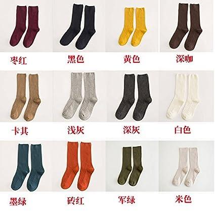 Las mujeres coreanas el otoño y el invierno, los calcetines calcetines de algodón puro en