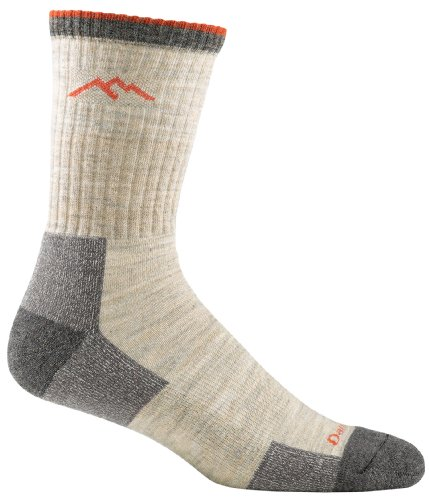 Darn Tough Vermont Mens Merino Wool Micro Crew Cushion Hiking Socks Oatmeal Large(10-12)