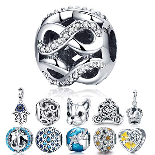 Womens Infinity Love Charms Sterling Silver Love Knot Bead Charms for Charm Bracelets