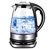 Queen Sense Electric Kettle, 1500W 1.8 Quarts Water Boiler with 5-Temperature Setting 12-Hour Keep Warm Function, Borosilicate Glass Teakettle Tea Pot Clear