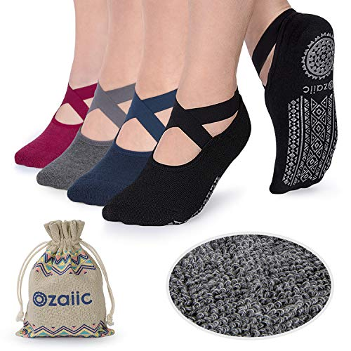 Ozaiic Non Slip Grip Socks for Yoga Pilates Barre Fitness, Anti Skid Hospital Labor Delivery Socks with Grips for Women from Ozaiic