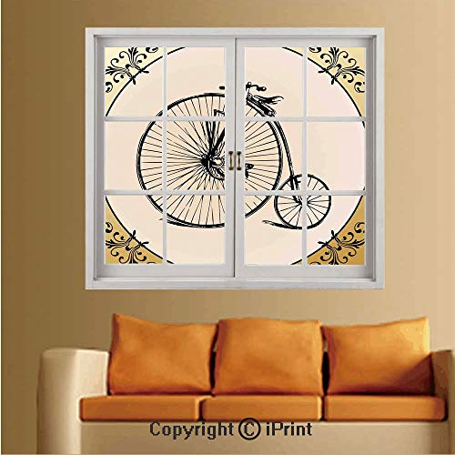 Removable and Stick Wallpaper,Home Decor,Wallpaper/Removable Modern Decorating Wall Art,W36 xL48,Retro Big and Small Tired Bicycle on A Vintage Round Framed Floral Background Boho -