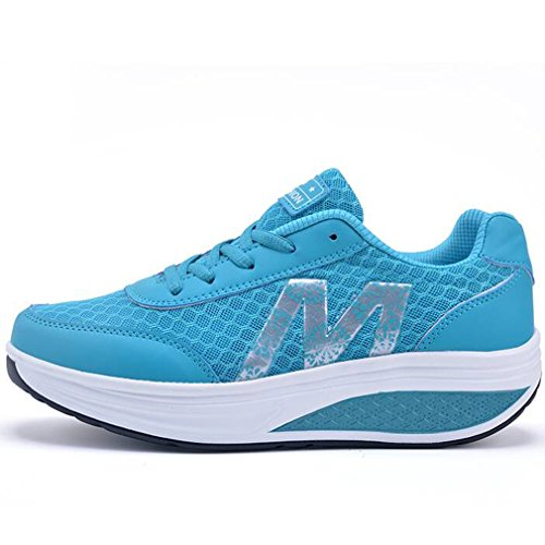1cd756ed5b9f ... Solshine Damen Fashion Plateau Schnürer Sneakers mit Keilabsatz  WALKMAXX Schuhe Fitnessschuhe Blau 2 ...