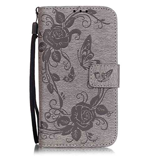 (Samsung Galaxy J5 (2015 Version) Case, ESSTORE [Wrist Strap] Flip Folio [Kickstand Feature] PU leather wallet case with ID&Credit Card Pockets For Samsung Galaxy J5 2015, Grey)