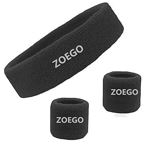 ZOEGO Anti-Sweat Headband Set, Men's & Women's Cotton Headband Bracers Youth Sweat Headband Sports Training Wristband, Indoor & Outdoor Sports Headband Set(Black)