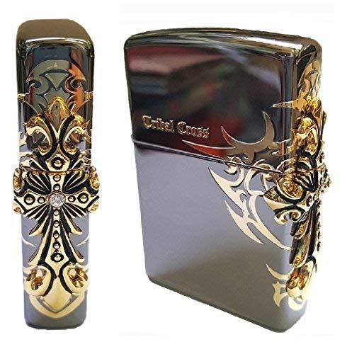 Cross Emblem Zippo Lighter - Zippo Side Tribal Cross BI Lighter BI / Genuine Authentic / Original Packing (6 Flints set Free Gift)