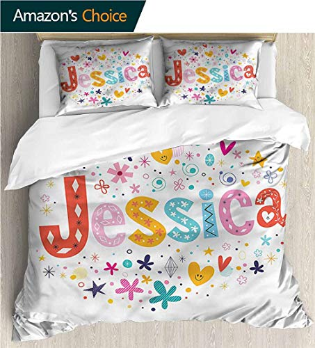 (3 Piece Quilt Coverlet Bedspread,Box Stitched,Soft,Breathable,Hypoallergenic,Fade Resistant All Season Lightweight Colorblock Kids Bedding Set-Jessica Retro Colorful Motifs (68