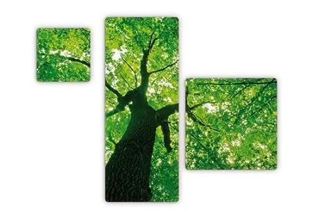 Glasbild - Under the Trees 3 - dreiteilig - 30x30cm 100x40cm 50x50cm - mit abgerundeten Ecken - 3D Optik K&L Wall Art