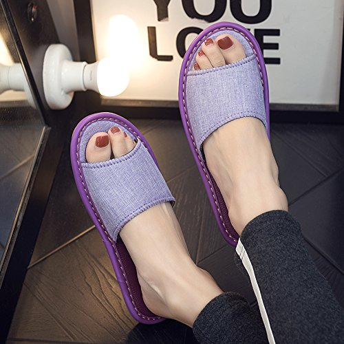 in Cool Home Sweat Thick Home Men Floor Anti with 37 of Linen Ladies 38 and Summer Interior The Away Slip Purple Slippers fankou Slippers nXx07OO