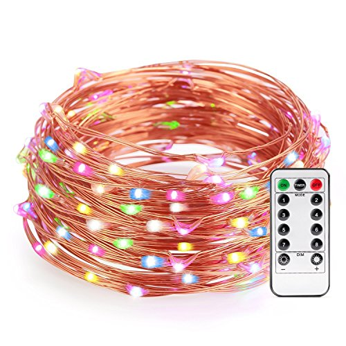 Colored String Lights For Bedroom : Colored Battery String Lights with Remote, Kohree Dimmable Starry Rope Lights,33Ft Flexible ...