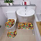 Fashion Bathroom Rug Set,Board Game,Wild West Concept Country Landscape Cowgirl America Cactus Childrens Nursery Decorative,Multicolor ,Bath mat set Round-Shaped Toilet Mat Area Rug Toilet Lid Covers