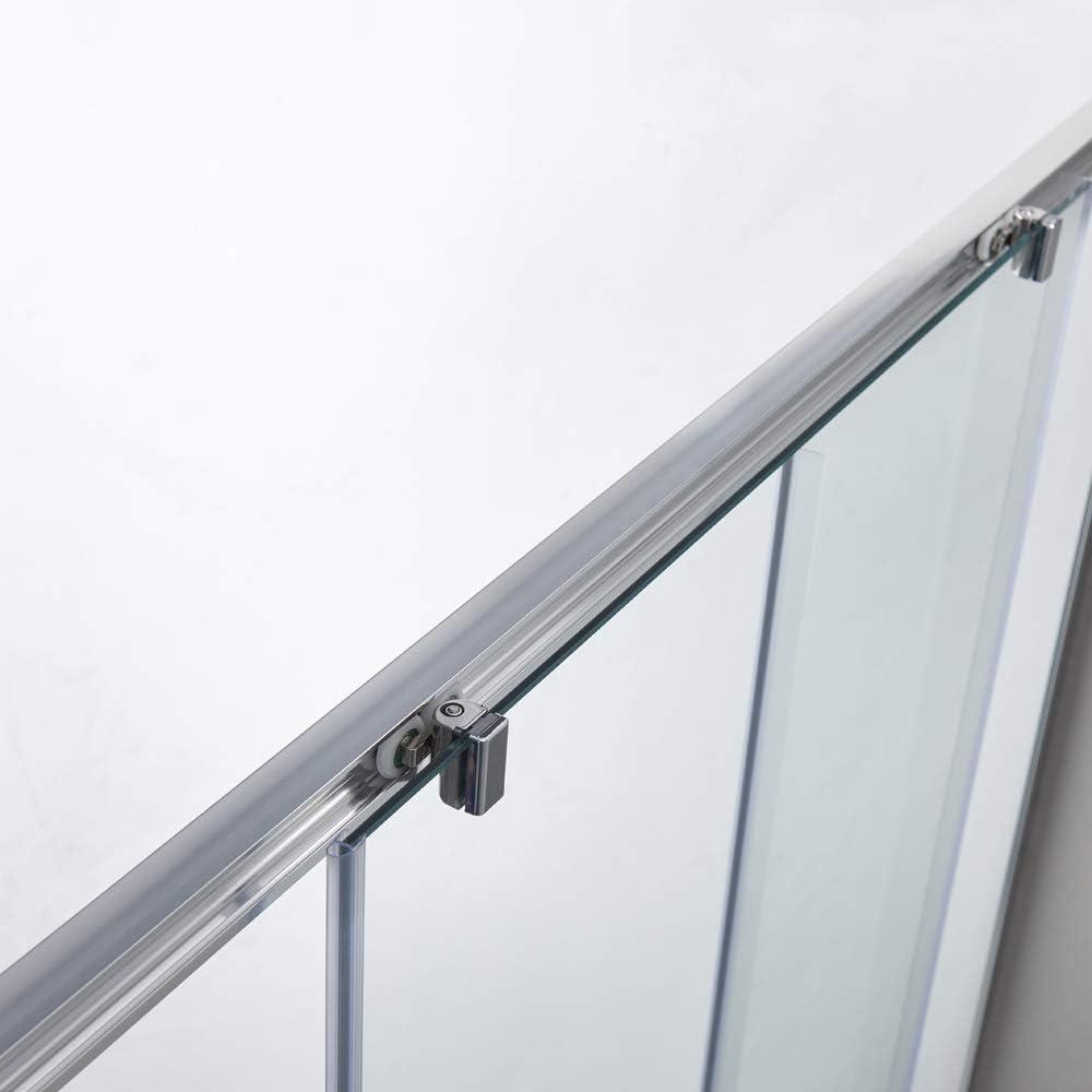 Mampara de ducha con sistema de apertura de puerta, sin perfil de aluminio inferior, cristal Nan ESG de 6 mm, altura regulable: 195 cm, 5 cm: Amazon.es: Bricolaje y ...