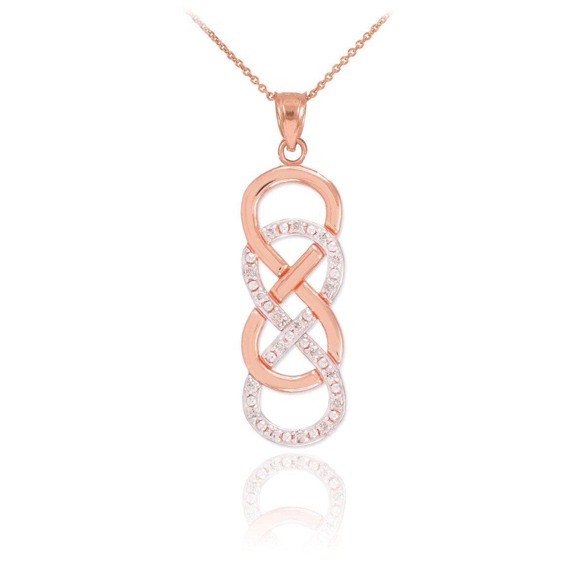 Fine 14k Rose Gold Diamond Vertical Infinity Necklace, 18''