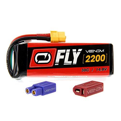 Venom Fly 30C 4S 2200mAh 14.8V LiPo Battery with UNI 2.0 Plug (XT60/Deans/EC3) - Compare to E-flite EFLB22004S30