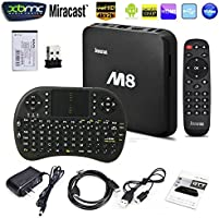 [2016 new arrivals] J-DEAL® M8 Fully Loaded KODI Quad Core Android 4.4 Smart Set Top TV Box + Free Remote Keyboard