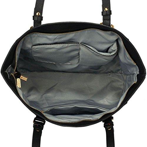 Grande borse a tracolla Xardi London da donna, da 30,5cm, in pelle sintetica, borsa con maniglie da lavoro o università Black/White