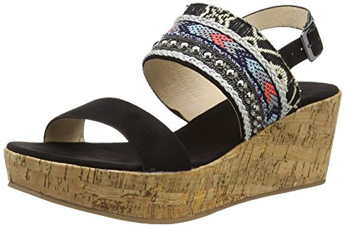 La Strada Black Suede Look Sandal With Cork Wedge - Sandalias Mujer Negro - Schwarz (2201 - micro black)