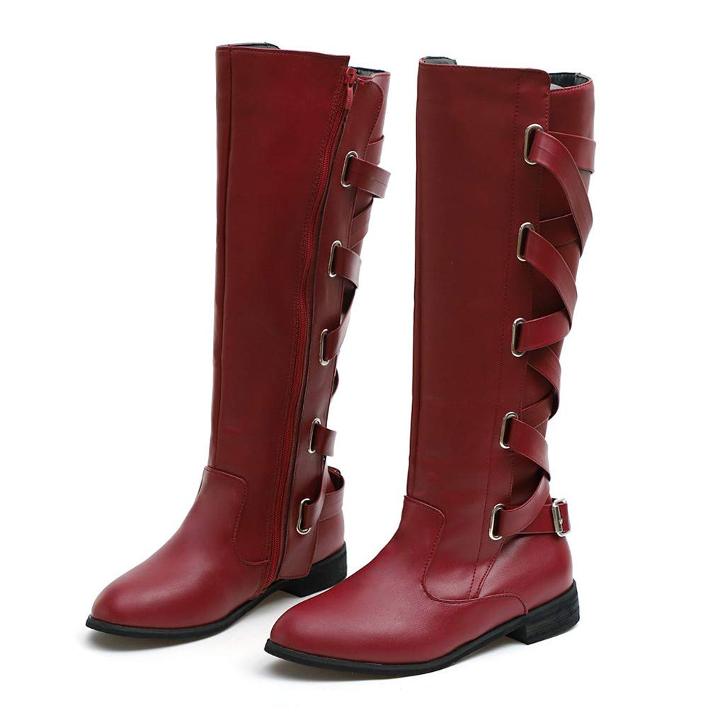 YiYLunneo Womens Over-The-Knee Boots Winter Warm Cross Strap Knee High Long Bootie Western Cowboy Shoes