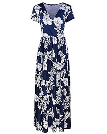 Styleword Women's Summer V neck Floral Maxi Long Dress(Navy,S)