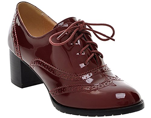 Women's Oxford Leather Mid heel Shoes-BEAUTOSOUL-Dress Pumps Red Size 5.5 XZ-NJXPX001-Red-5.5