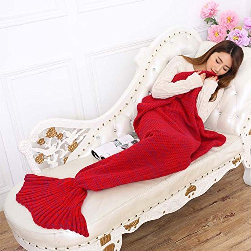 Super Soft Handmade Mermaid Tail Blanket Sofa Blankets All Seasons Living Room Sleeping Blanket Gift for Adult and Kids, Red (Sofa Day Sales Boxing)