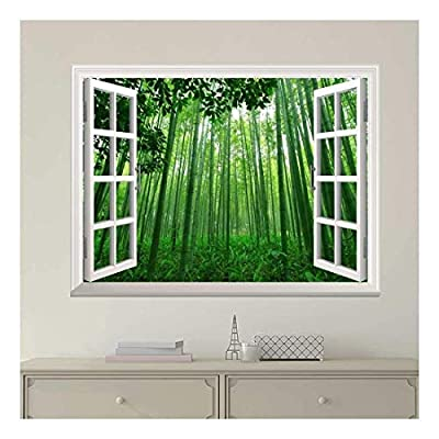 Elegant Technique, White Window Looking Out Into a Green Bamboo Forest Wall Mural, With a Professional Touch
