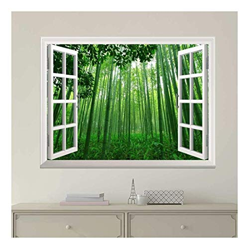 White Window Looking Out Into a Green Bamboo Forest Wall Mural