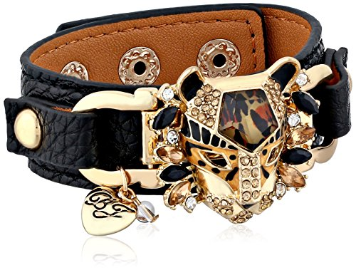 Womens Johnson Betsey Bracelet (Betsey Johnson Hollywood Glam Leopard Faux Leather Snap Bracelet)