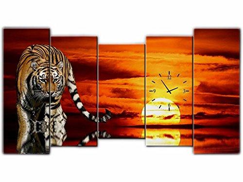 Amazonde 5 Tlg Leinwandbilder Wanduhr Tiger Wandbild Leinwand