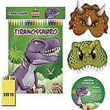 Livro Infantil Colorir Super Kit Dinossauros com Giz x 1 Unidade, Vale das Letras 8555, Multicor, Pacote de 1