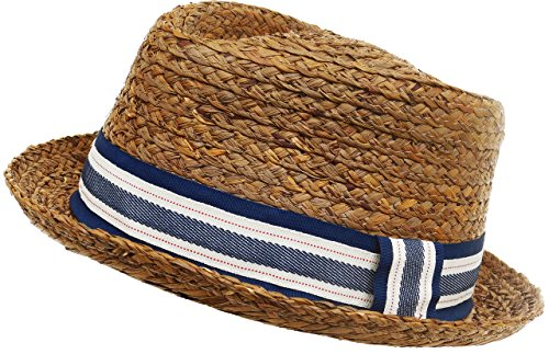 Broner Raffia Straw Diamond Crown Fedora (Crown Fedora Hat)