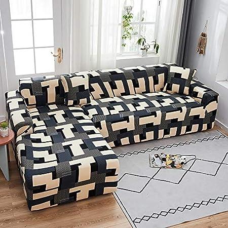 PPMP Funda de sofá elástica elástica, Utilizada para la Funda de sofá de Spandex de la Sala de Estar, Funda de sofá, Toalla de sofá elástica, Forma de L, Funda de sofá A13 de 3 plazas