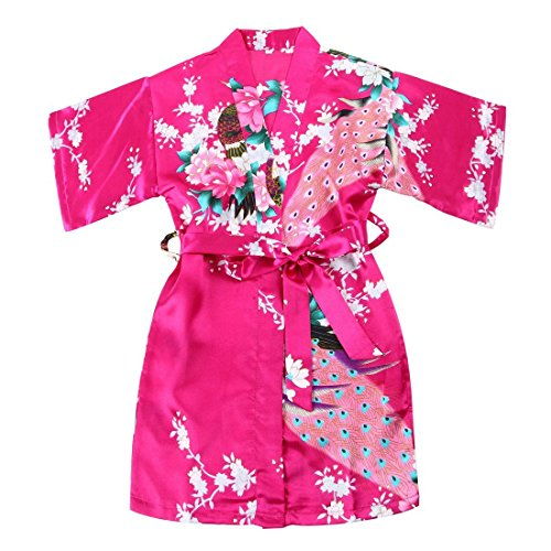 Wedding Day Blossoms - Toddler Girls' Satin Kimono Robe Peacock Blossoms Bathrobes Weeding Gown SFA Wedding Birthday Ages 1-12 (Rose, Size 4: 2-3 Years)