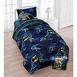 DC Comics Batman Twin Bedding Set - Reversible Comforter, Sheet Set and Reversible Pillowcase
