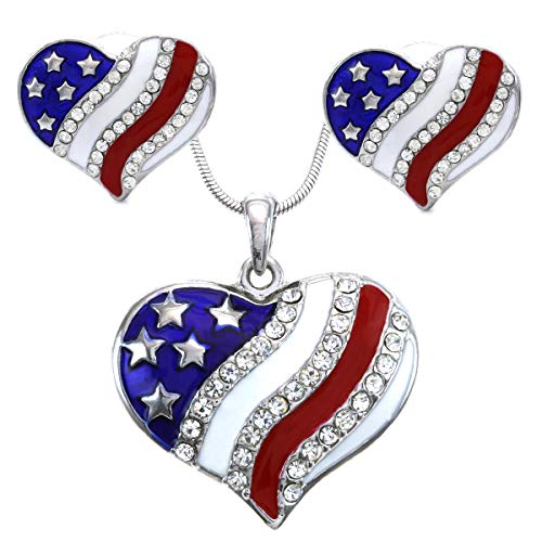 (Soulbreezecollection USA American Flag Heart Patriotic 4th of July Independence Day Pendant Necklace & Dangle Earrings Set (Stud -)