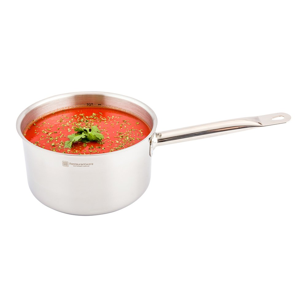 Induction Ready Sauce Pan - 3.5 Quart - Commercial Grade - Stainless Steel - 1ct Box - Met Lux - Lid Sold Separately - Restaurantware