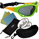 SeaSpecs Classic Retro Specs Orange Green Water Sports Floating Sunglasses w Semi Rigid Case Bundle (5 Items)+ Flex Clip Case + Soft Carry Pouch + Lens Cloth + WindBone Kiteboarding Lifestyle Stickers