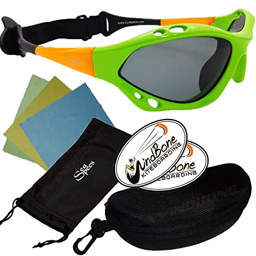 SeaSpecs Classic Retro Specs Orange Green Water Sports Floating Sunglasses w Semi Rigid Case Bundle (5 Items)+ Flex Clip Case + Soft Carry Pouch + Lens Cloth + WindBone Kiteboarding Lifestyle Stickers by SeaSpecs, FlexClip, WindBone