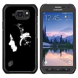 "For Samsung Galaxy S6 active / SM-G890(NOT FOR S6) , S-type Música minimalista Muchacha de la música"" - Arte & diseño plástico duro Fundas Cover Cubre Hard Case Cover"
