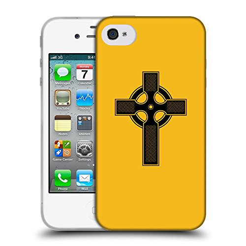 GoGoMobile Coque de Protection TPU Silicone Case pour // Q07840602 Christian Cross 9 ambre // Apple iPhone 4 4S 4G