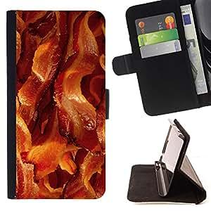 BullDog Case - FOR/Apple Iphone 6 / - / bacon pork meat crispy brown food /- Monedero de cuero de la PU Llevar cubierta de la caja con el ID Credit Card Slots Flip funda de cuer