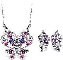 T400 Jewelers Ensemble de Bijoux Papillon Collier Pendentif et Boucles d'oreilles pour les Petites amies Cadeau de la Saint-Valentin