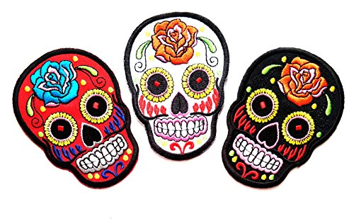 Nipitshop Patches Set 3 Pcs Mexican Sugar Skull Awesome Cool Red White Black Patch Skull Rose Skull Sunflower Eye Skull Novelty Iron on Skull Day of the Dead Iron on Embroidered Patches for Clothes