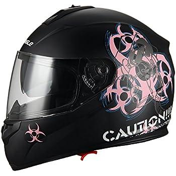 """Biohazard"" Full Face Matte Pink Dual Visor Street Bike Motorcycle Helmet by Triangle [DOT] (Large)"
